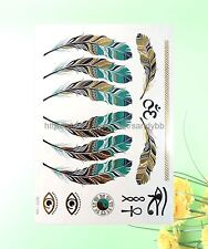US Seller- feather om metallic flash temporary tattoo summer tribal
