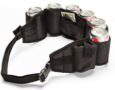 Beer Belt Insulated, Money Holder Zipper Pocket Plus Pocket for Phone -BLACK-