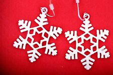 Frosted snowflake Christmas earrings, frozen silver colour, great xmas accessory