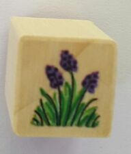Wood Backed Rubber Stamp Grape Hyacinth