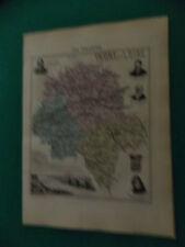 INDRE ET LOIRE CARTE ATLAS MIGEON Edition 1885, Carte + fiche descriptive