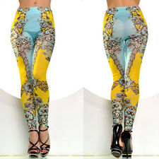 Sexy Womens Print Tattoo Leggings Skinny Tight Elastic FIT /UK SIZE 6-12