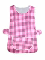 1 Ladies Check Tabard Tabbard Apron Work Overall / Carol / Pink / All Sizes