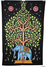 Indian Psychedelic Single Tapestry Tree of Life Elephant Art Twin Bedsheet SB26A