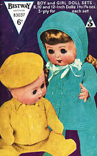 "Dolls clothes knitting pattern for  8"" 10"" & 12 inch Baby doll. (V Doll 48)"