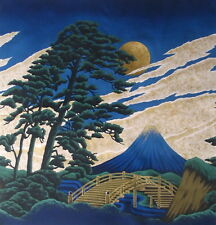 Japanese Cotton Fabric Kona Bay Panel Mt Fuji Gold Moon and Pine