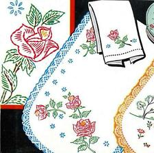 Hand Embroidery Transfer 603 Deer Doe Fawn Roses for Vanity sets Scarves Towels