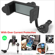 NEW Handfree Car Smartphone Mount Holder Dual USB 2.1A Cigarette Lighter Charger