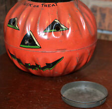 Vintage Tin Litho US Metal Toy Jack O Lantern Trick or Treat Owl Bats Halloween