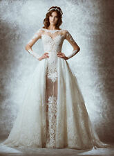 2017 Sexy White/Ivory Lace Wedding Dress Bridal Gown Custom Size 4 6 8 10 12