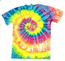 ADULT MEDIUM SLIM FIT NEON RAINBOW  TIE DYE TEE SHIRT #4 mens womens SWIRL NEW