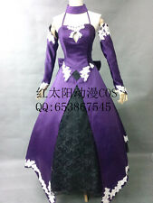 Fate Zero Altria Saber Purple Lolita Evening Ball Dress Cosplay Costume
