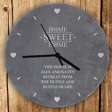 Personalised Kitchen Slate Clock Wedding New Sweet Home Anniversary Design Gift