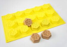 15 cell YELLOW Honeycomb Bees Wax Beeswax Chocolate SILICONE BAKEWARE CAKE MOULD