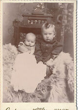 1880-1899 Two Look Alike Wary Babies, Sepia Cabinet Card Photo