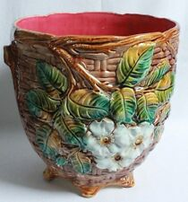 ANTIQUE FRENCH MAJOLICA CACHE POT C 1900 ART NOUVEAU ONNAING BRAIDED BASKET