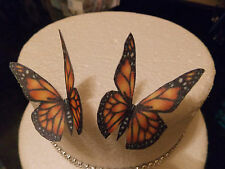 12 Precortada bronze/orange Mariposas Comestibles wafer/rice papel Cupcake Toppers (2)