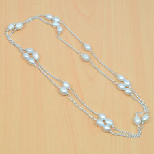 925 SILVER PLATED FRESH WATER OF PEARL LONG CHAIN  NECKLACE G03889