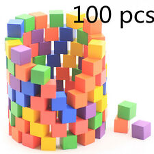 100 pcs Square Colorful Math Solid Wooden Cube Building Blocks Diamond Kid Gift