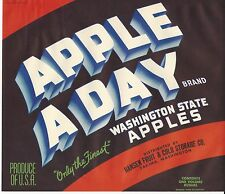 APPLE A DAY  Original Yakima Washington Apple Crate Label