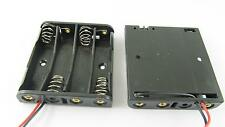 """Battery Holder Box Case 4 x AAA/3A Cells 6V With 6"""" Lead Wire Black"""