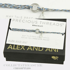 Authentic Alex and Ani Light Blue Precious Threads Sterling Silver Bracelet