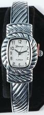 Silver Cable Cuff Watch, Brighton Beach Rectangular Face-Free Xtra Battery!