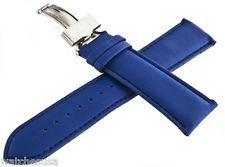 King Master 24mm Blue Leather Silver Buckle Watch Band Strap