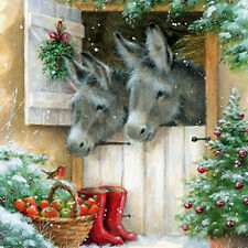 Donkeys & Robin Charity Christmas Cards Pack of 5 Traditional Xmas Cards NEW