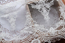 "White Floral Lace Trim Venice Embroidered Tulle Lace Trim 9.05""  Wide 2 Yards"