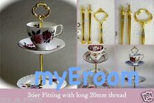 3 tier Cake Plate Stand Fitting with longer 20mm thread cup & saucer High Tea