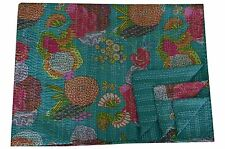 Green Indian Kantha Quilt Cotton Bedspread Throw Twin Size Reversible Blanket