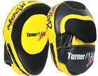TurnerMAX Boxing Focus Mitts Hook And Jab Punch Bag Yellow Black Curved