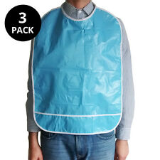 3x Reusable special needs adult vinyl bibs (blue)