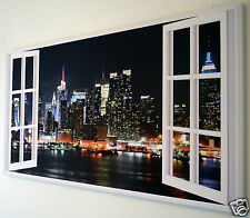 "NEW YORK SKYLINE WINDOW WALL ART CANVAS PICTURE LARGE 18"" X 32"""