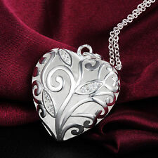925 Hallmark Sterling Silver  Heart Pendant  Woman Chain Necklace N-A393