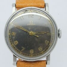 VINTAGE 1940's Omega 30T2 Mens 32mm Steel Manual Watch = ORIGINAL Grey Lume Dial