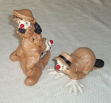 TWO VINTAGE ANDREOLI CLOWNS FIGURINES SIGNED 1979