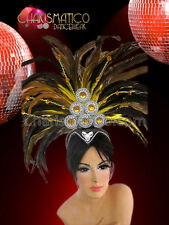 Classic fancy yellow showgirl diva's cabaret headdress with amber crystals