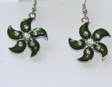 Green Star/Flower Earrings w Clear Crystals / Dangling Fish Hook / Silver-tone