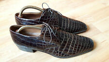 A.Testoni Men's vintage Italian designer shoes Crocodile Leather size 8.5