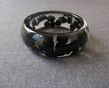VINTAGE INLAID BLACK BEADS CLEAR LUCITE RESIN BRACELET BANGLE