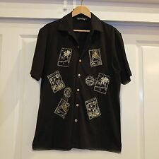 Black Mens Rockabilly Shirt, Vintage Shirt, Hawaiian Shirt