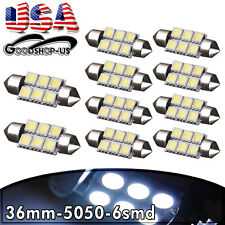 10Pcs Cool White 36MM 5050 6SMD Festoon Car Interior Dome LED Light bulbs DE3425