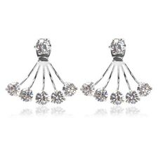 White Gold Filled Five Claw Austria Crystals Ear Jacket Stud Earrings Jewelry