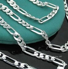 Hot! 1pc 925 solid Silver 6mm wide FIGARO Men NK Chain Necklace 20 inch