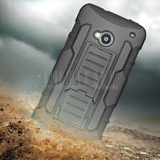 Rugged Hybrid Armor Impact Case Hard Shockproof Cover Holster For HTC One M7