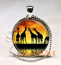 Vintage Giraffe Cabochon Tibetan silver Glass Chain Pendant Necklace *XP-497