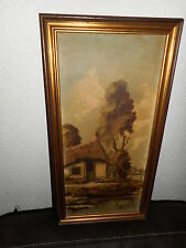 Old oil painting,{ Cottage near a river, is signed, nice frame} is antique!