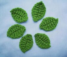 7 Crochet Green Leaves Appliques WOMEN,ROSES,FLOWERS,Scrapbooking,Cards,Supplies